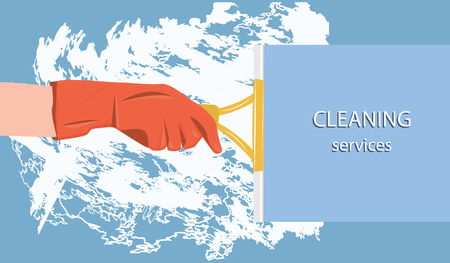 Cleaning service - lather, rubber-gloved hand and scraper - flat style - vector 일러스트