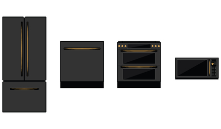 Refrigerator, stove, microwave, dishwasher - black on white background - isolated - flat style - vector. Kitchen appliances.