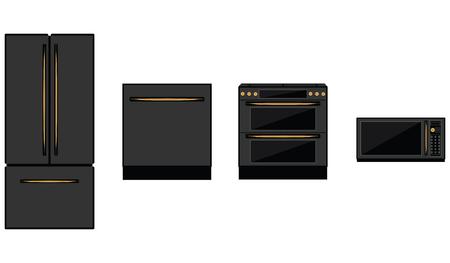 Refrigerator, stove, microwave, dishwasher - black on white background - isolated - flat style - vector. Kitchen appliances.