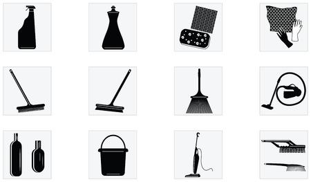 Ensemble d'icônes - outils et appareils pour le nettoyage - isolé sur fond blanc - style plat - vecteur. Vecteurs