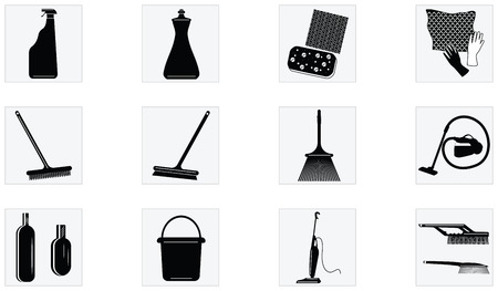 Set of Icons - tools and appliances for cleaning - isolated on white background - flat style - vector.