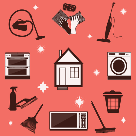 Cleaning products and household appliances - on a coral background - flat style - vector. Imagens - 124740266