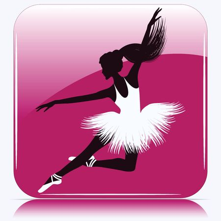 Silhouette of ballerina jumping, white tutu - pink square icon - isolated - vector