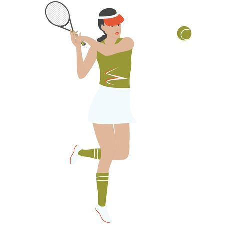 Tennis player with racket and ball - isolated on white background - vector Ilustrace