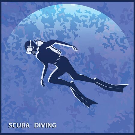 Scuba Diver on Abstract Sea Blue Background - Vector. Water sports