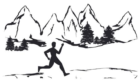 Silhouette of the athlete running in nature - mountains, forest - white background - vector