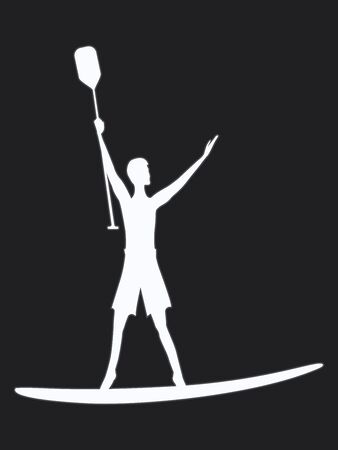 White silhouette of a man with a paddle surfer at serfdoska - isolated on black background - vector Çizim