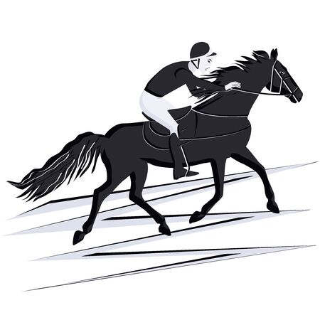 Jockey at the races. Horse riding. Black and white silhouette - isolated - vector