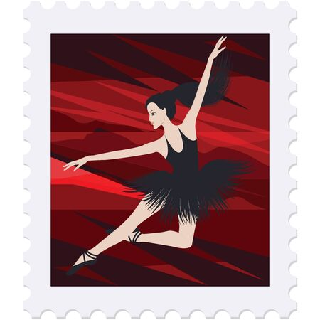 Postage stamp - a ballerina in a black tutu, character, bright red abstract scene - isolated on white background - vector. Ballet, dance, art