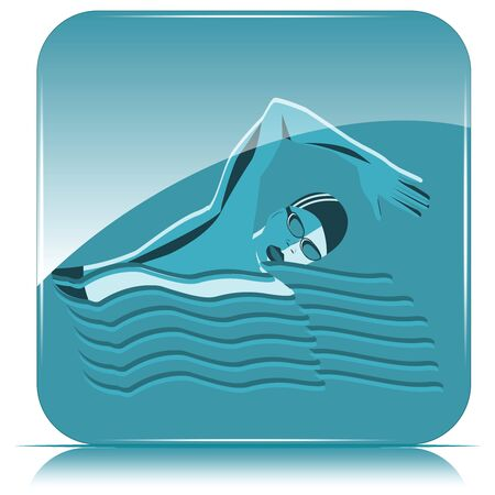 Square icon - Swimmer on blue background, abstract waves - vector. Sports lifestyle. Pool. Character for water sports.