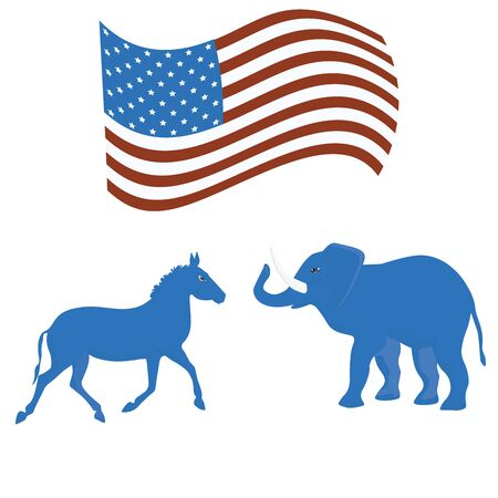Donkey and Elephant - American flag - isolated on white background - vector. US Political Parties. Republican and Democratic Talismans Çizim