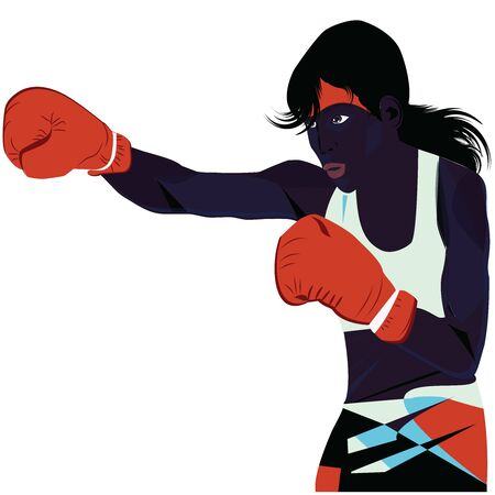 Black female boxer, strong, cute, in red boxing gloves, punch, - isolated on white background - vector