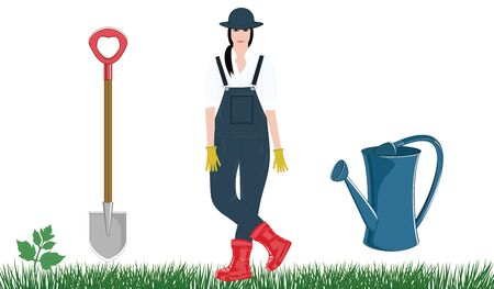 Girl in work overalls, hat, rubber gloves and boots, shovel, grass watering can - isolated on white background - vector Work in the garden.