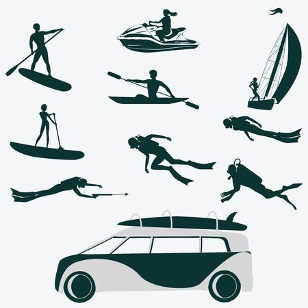 Silhouettes diver, surfer, water bike, sailboat, kayak. Car for transporting tourists - vector. Life style. Water sports. Stock Illustratie