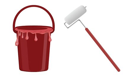 Paint roller and bucket with red paint dripping over the edge - isolated on white background - flat style - vector