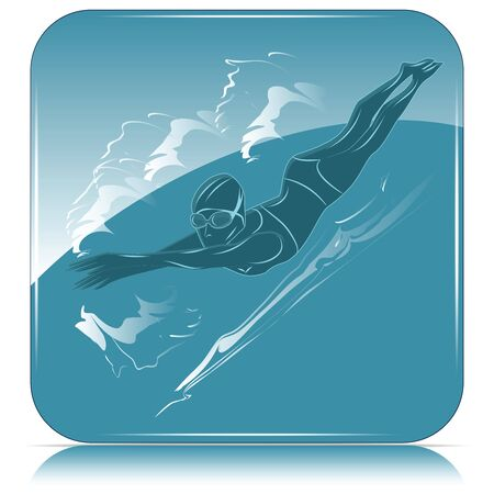 Swimmer woman in glasses swims free style among abstract waves - blue square icon - vector Stock Illustratie