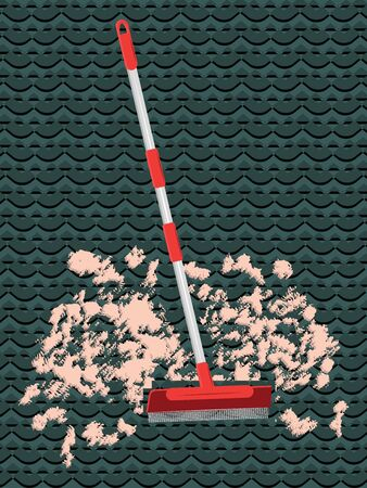 Brush to collect debris from the carpet - abstract dark background - flat style - vector