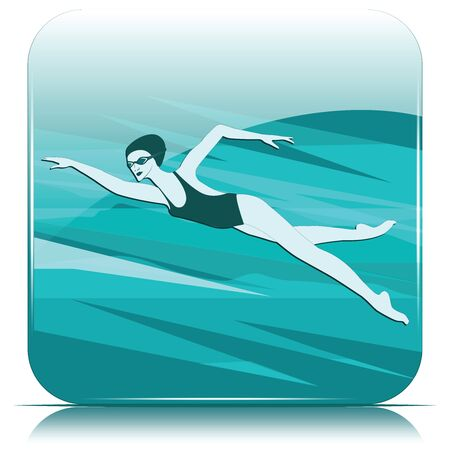Swimmer icon - woman in a bathing suit, glasses - isolated on white background - vector. Pool. Water sports. Stock Illustratie
