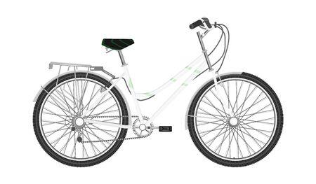 Bicicletta con telaio bianco, femmina, urbano - isolato su sfondo bianco - stile piatto - vettoriale