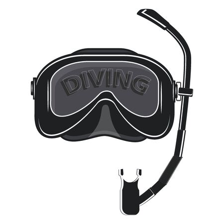 Underwater sport. Diving. Immersion mask - isolated on white background - flat style - vector. Stock Illustratie