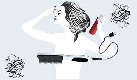 Stylish, elegant woman doing her hair style - electric hairbrush and hairspray - flat style, isolated on light background - vector. Beauty Salon Logo
