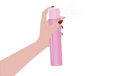 Pink hairspray in female hand - isolated on white background - flat style - vector