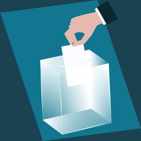 Ballot box - glass is transparent - man's hand drops a ballot paper - vector. Voting, election concept. Illustration