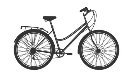 Bicycle for women, urban - black on white background - flat style - vector