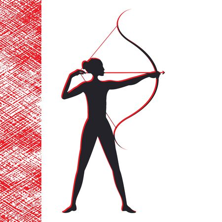 Archery - girl silhouette on white background - red abstract element for design - vector. Life style.