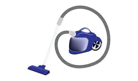 Washing blue vacuum cleaner - isolated on white background - flat style - vector