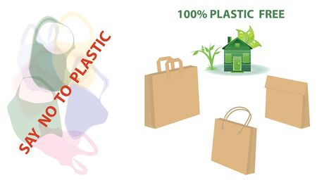 Eco house symbol - free plastic - paper bags - plastic bags - vector. Say no to plastic. 向量圖像