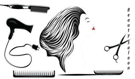 Beauty salon logo - beautiful elegant female profile and hairdresser tools - flat style, isolated on white background - vector  イラスト・ベクター素材