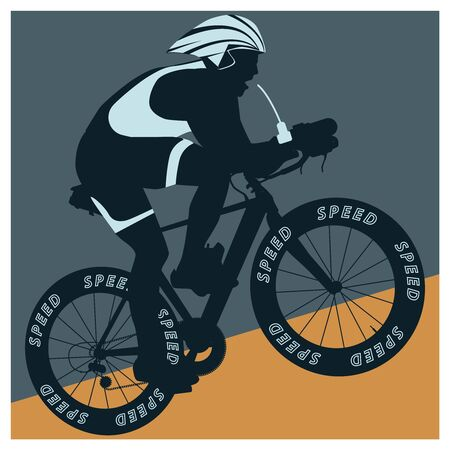 Silhouette of a racer on a bicycle in a helmet - dark green and yellow background - vector.
