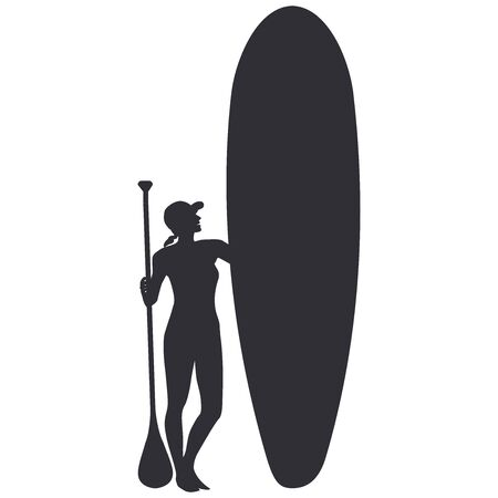 Sapboarding- sketch - girl with a paddle and a surfboard - isolated on white - vector