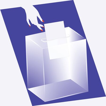 Ballot box - glass is transparent - female hand drops the newsletter - vector. Voting, election concept.
