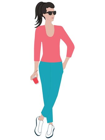 Girl, stylish, with sun glasses, in trousers, with a can of drink in hand, hair collected in a long tail - isolated on white background - flat style - vector Illustration