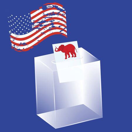 Transparent ballot box - newsletter with an elephant, political symbol of republicans - USA flag in grunge style - vector. US political parties