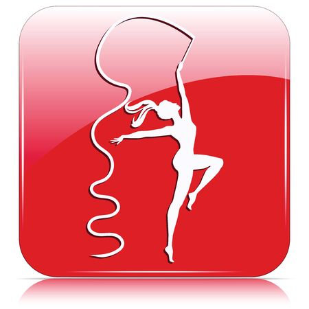 Gymnast dancing with ribbon - red icon - isolated on white background - vector