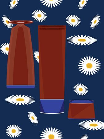Three red perfume bottles for design - abstract blue background with white daisies - vector  イラスト・ベクター素材