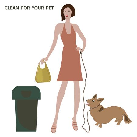 Take care of your pet - Charming corgi puppy on a leash - woman with bag in hand and trash can - isolated on white background - vector