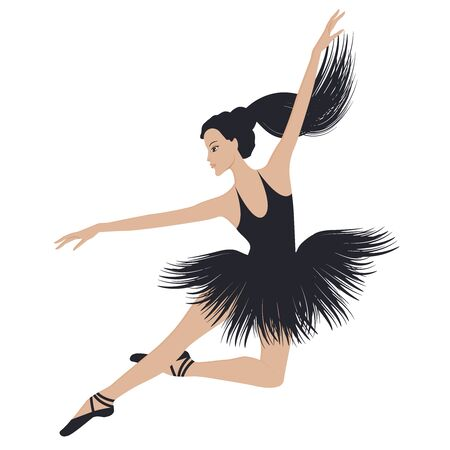 Ballet dancer in a jump - black ballet tutu - long hair gathered in a ponytail - isolated on white background - vector