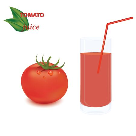 Tomato realistic and glass with tomato juice and straw - isolated on white background - vector