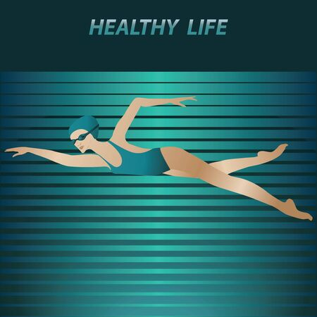 Swimmer - a woman in a bathing suit, glasses - abstract striped background - vector. Pool. Character Water sports.
