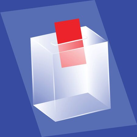 Ballot box - glass is transparent - red leaf ballot - vector. Voting, election concept.
