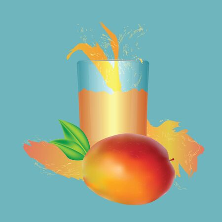 Realistic mango, transparent glass with juice, splashes, drops, green leaves - isolated on blue background - vector  イラスト・ベクター素材