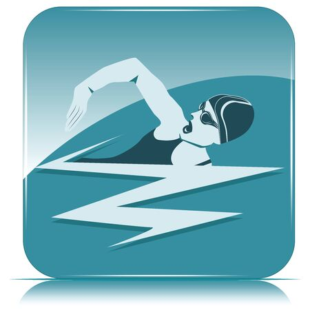 Square icon - swimmer, woman on blue background - vector. Sports lifestyle. Pool. Character for water sports.
