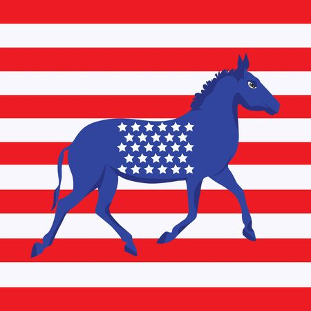 Blue Donkey with stars on the background of white and red stripes - vector. US Political Parties. Democratic Talisman Çizim