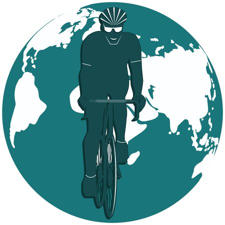 Silhouette cyclist - world map - round icon - isolated on white background - vector