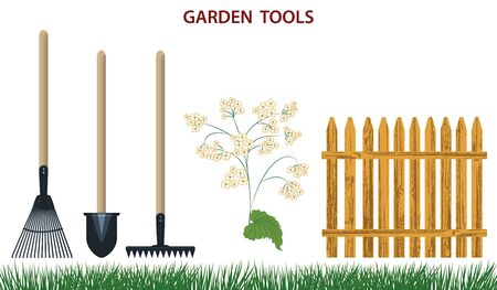 Set - shovel, rake, wooden fence, grass - isolated on white background - flat style - vector. Gardening Supplies