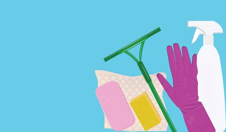 Banner - Set of goods for home cleaning - light background - flat style - vector Ilustracja